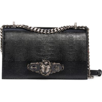 Alexander Mcqueen Butterfly Knuckle Reptile Embossed Leather Shoulder Bag - Black