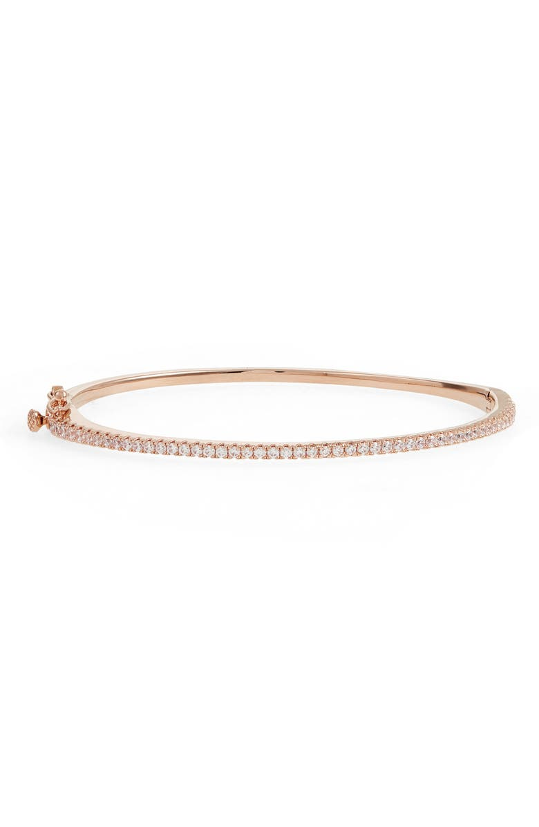 NORDSTROM Delicate Cubic Zirconia Bangle, Main, color, CLEAR- ROSE GOLD