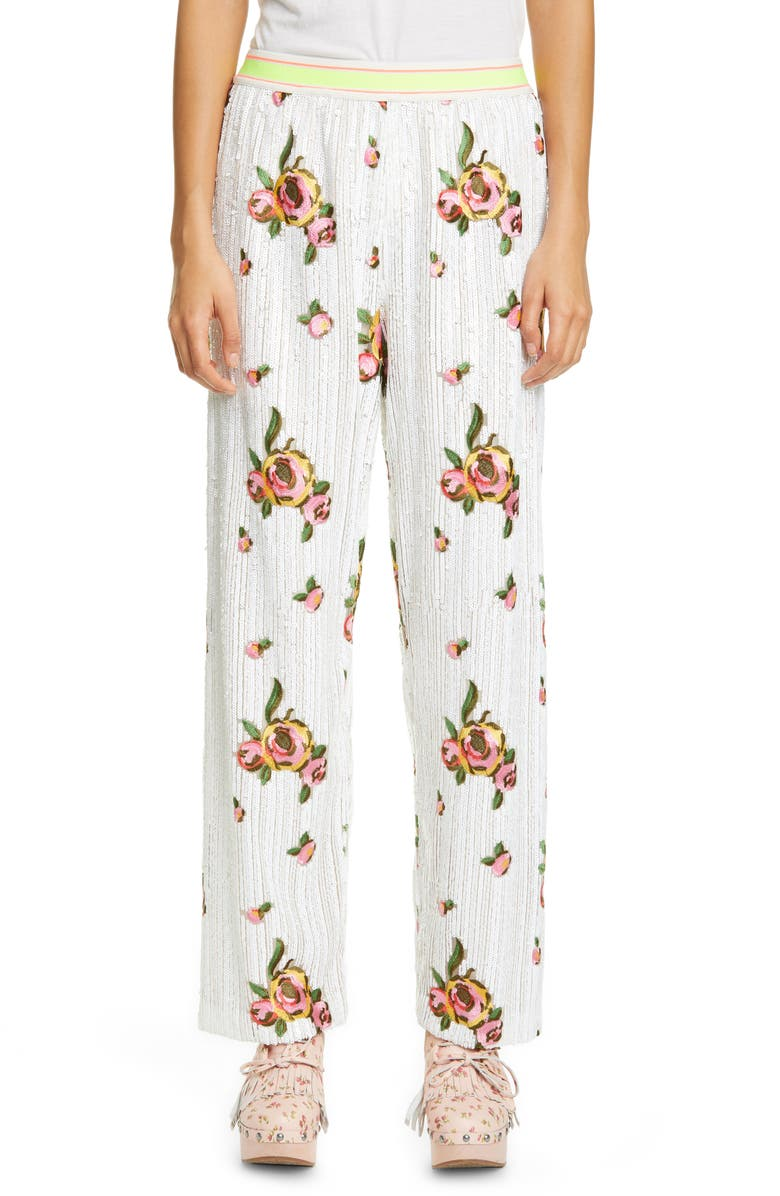ANNA SUI Embroidered Rose Sequin Pants, Main, color, WHITE MULTI