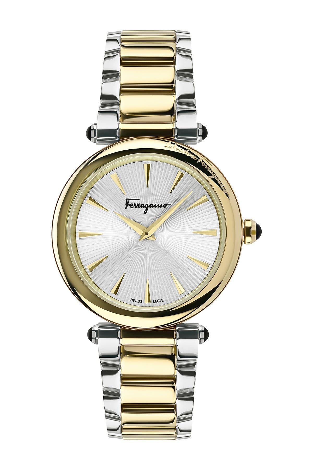 Image of Salvatore Ferragamo Women's Two-Tone Stainless Steel Bracelet Watch, 36mm