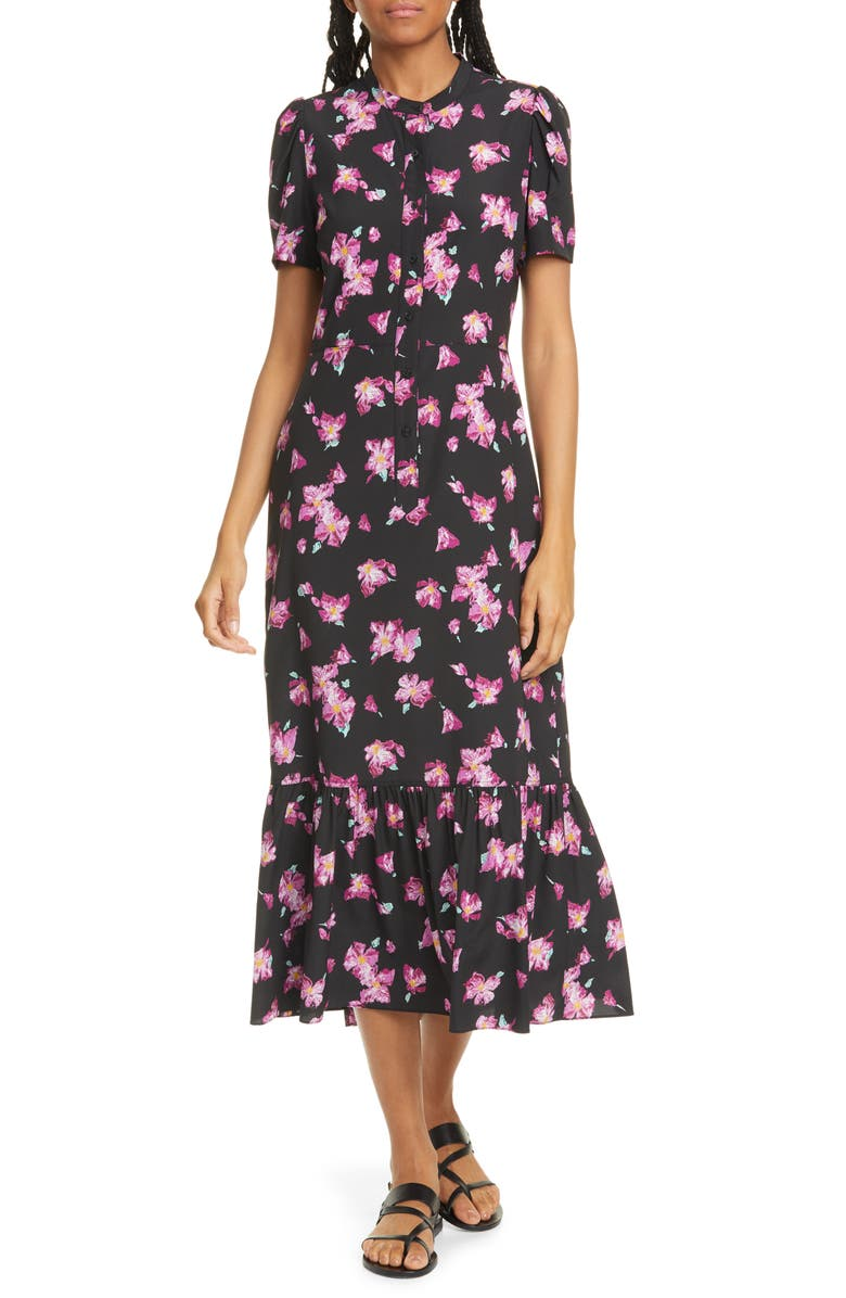 A.L.C. Dylan Floral Puff Sleeve Stretch Silk Shirtdress, Main, color, 003