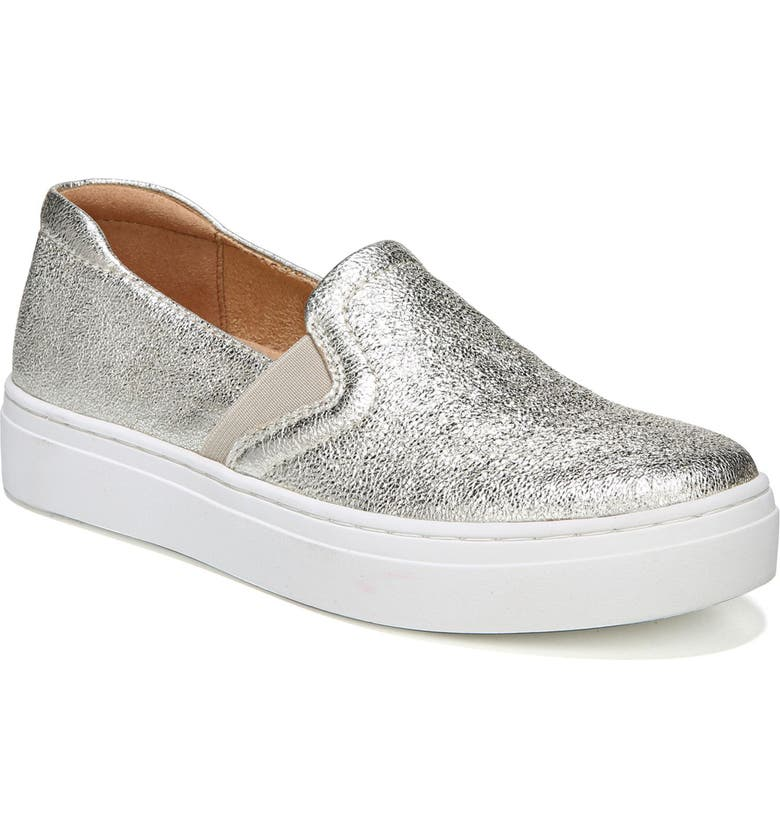 NATURALIZER Carly Slip-On Sneaker, Main, color, SILVER LEATHER