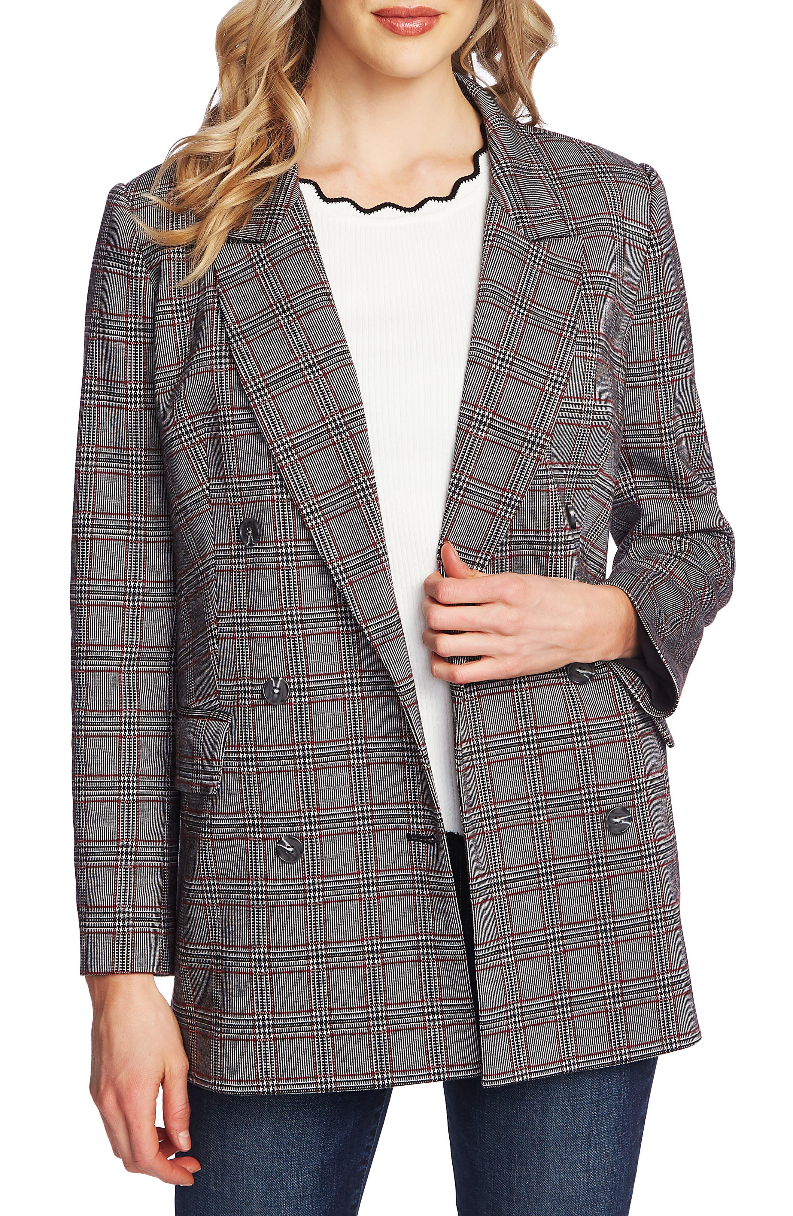 Vintage Coats & Jackets | Retro Coats and Jackets Womens Cece Menswear Plaid Oversize Blazer $159.00 AT vintagedancer.com