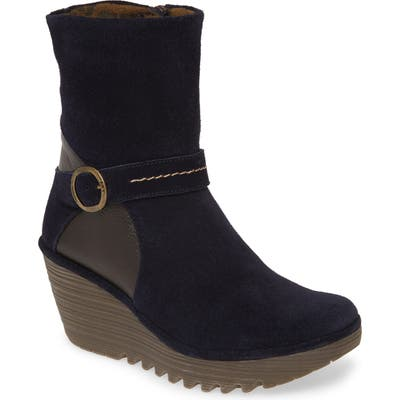 Fly London Yome Wedge Bootie,8.5- Blue