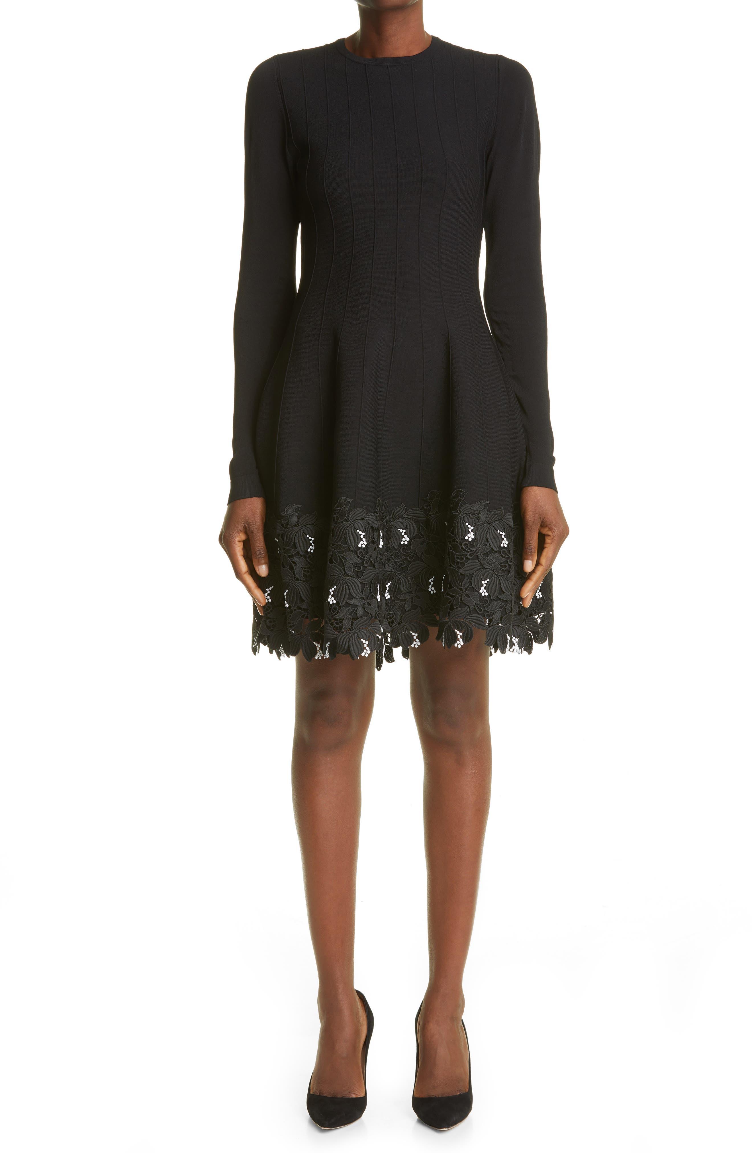 Lace Trim Long Sleeve Knit Dress