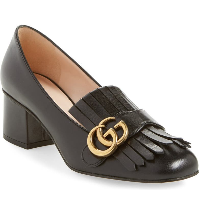 GUCCI GG Kiltie Fringe Pump, Main, color, BLACK LEATHER