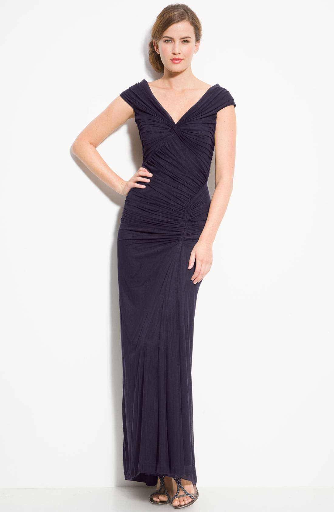 ,                             Ruched Mesh Gown,                             Main thumbnail 14, color,                             502