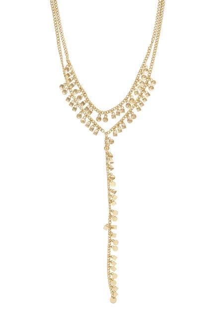Image of Ettika 18K Gold Plated Geo Fringe Lariat Necklace