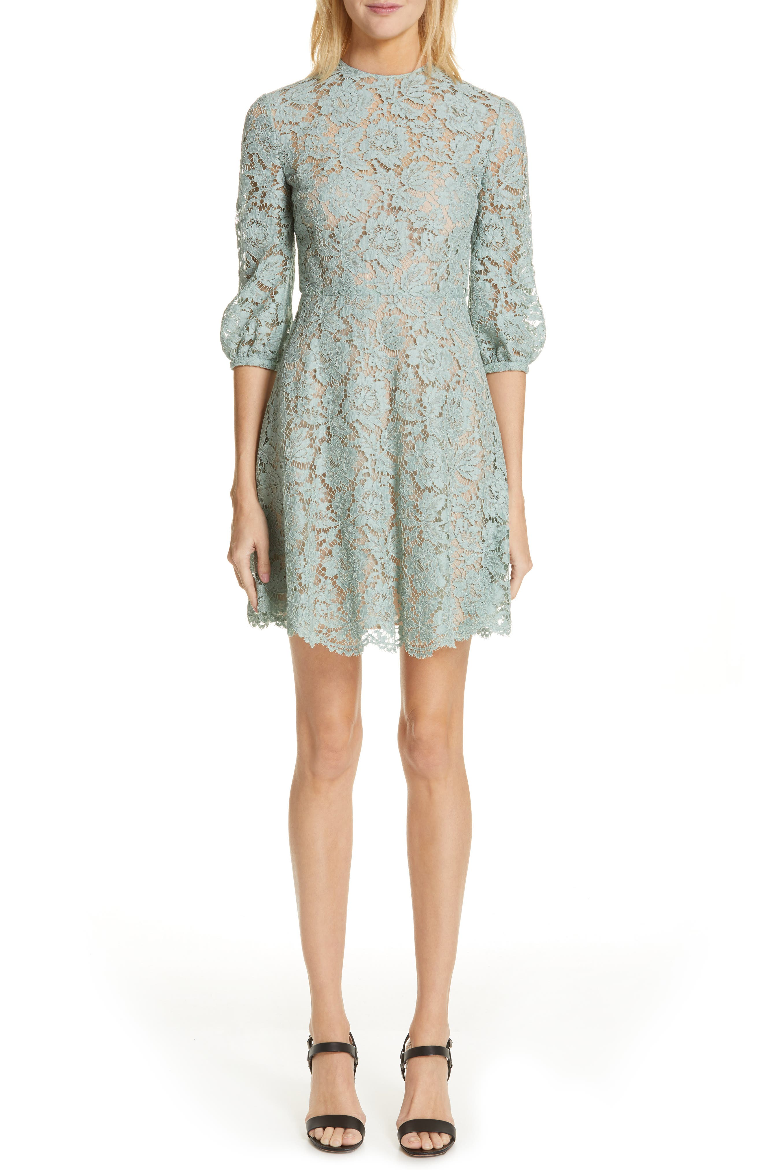 Valentino Lace A-Line Minidress, 6 IT - Green