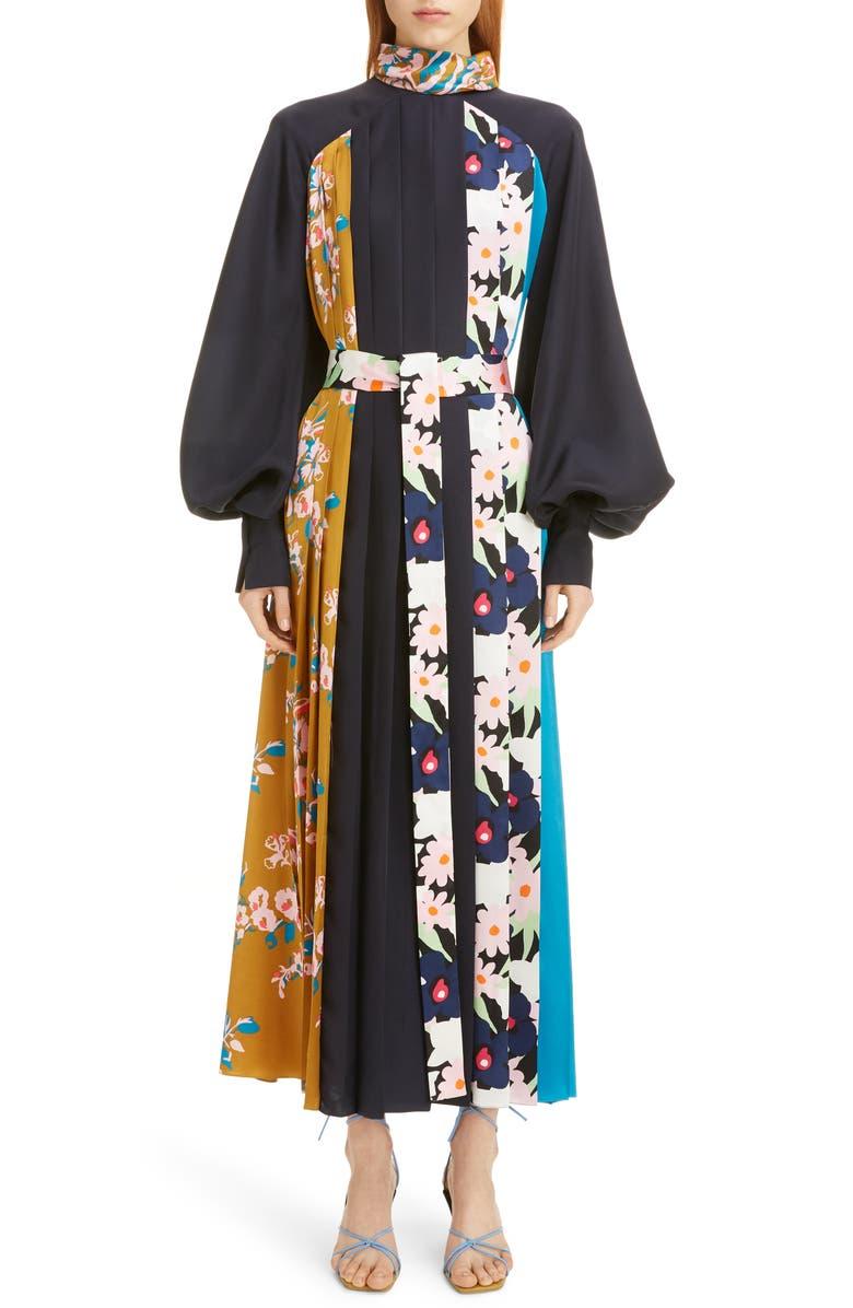 ROKSANDA Floral Panel Long Sleeve Silk Twill Maxi Dress, Main, color, MIDNIGHT