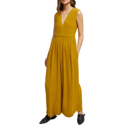 French Connection Carrabelle Wide Leg Crepe Jumpsuit, Yellow