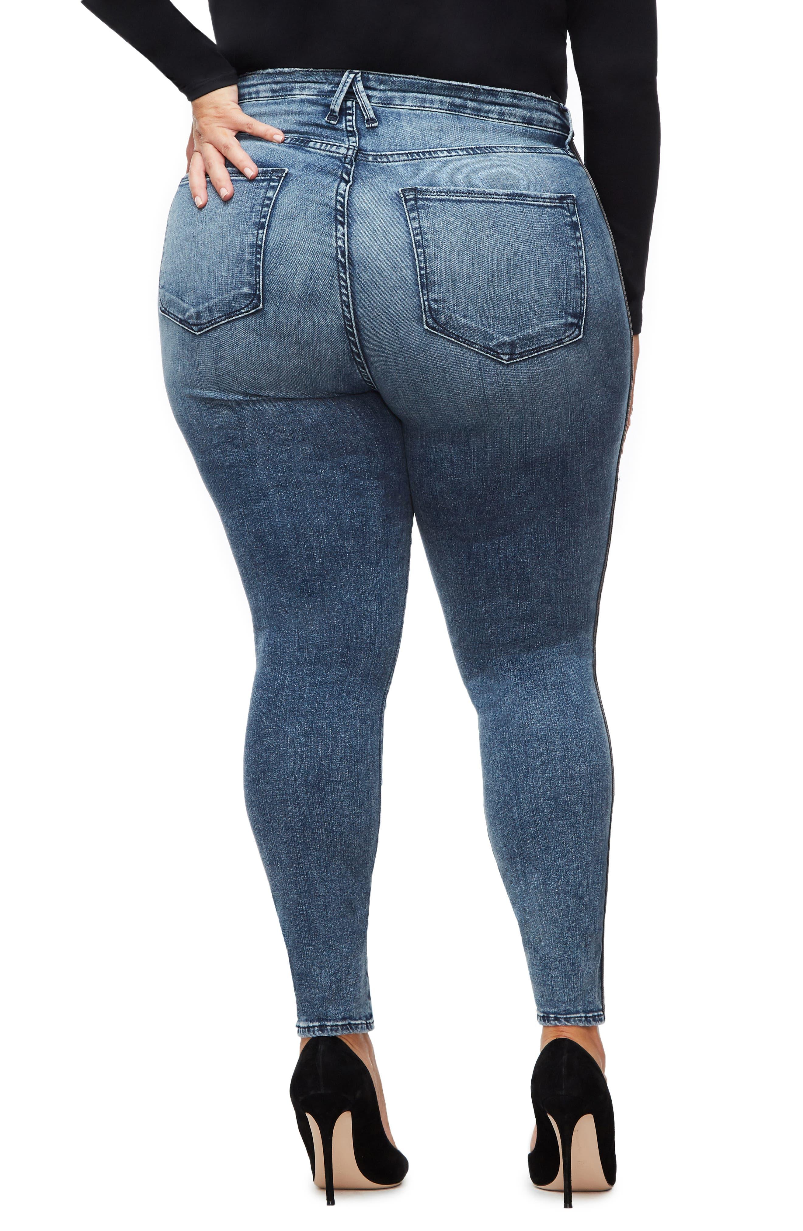 ,                             Good Waist Stripe Skinny Jeans,                             Alternate thumbnail 5, color,                             BLUE241