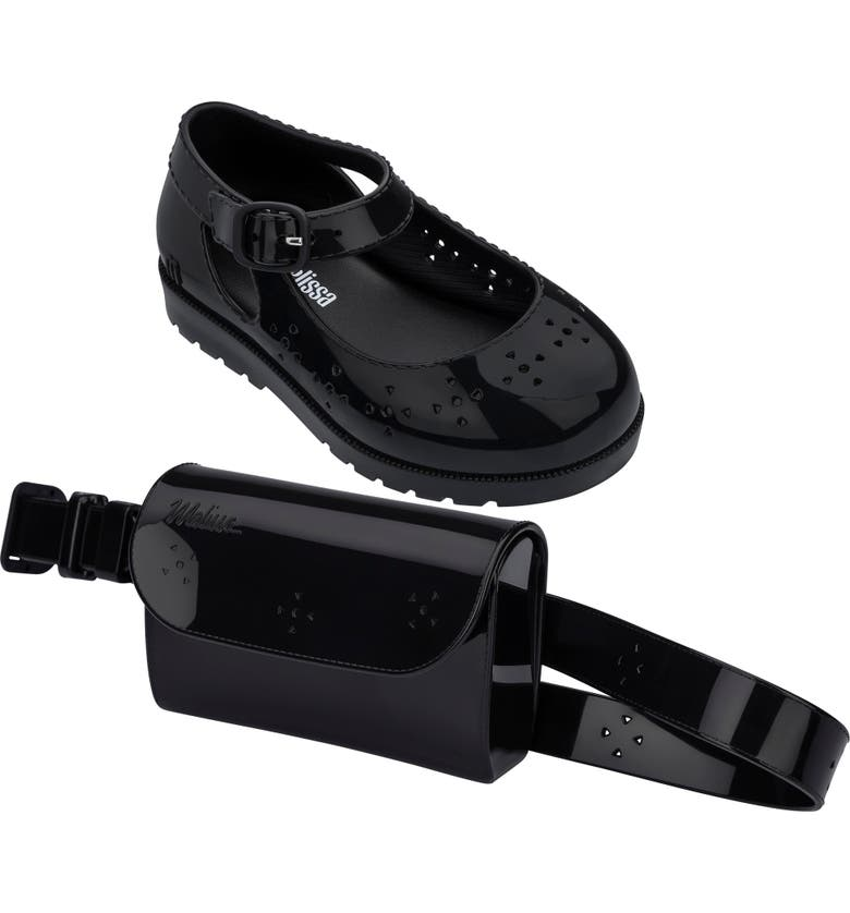 MINI MELISSA Mary Jane Flat & Belt Bag Set, Main, color, BLACK - 01003