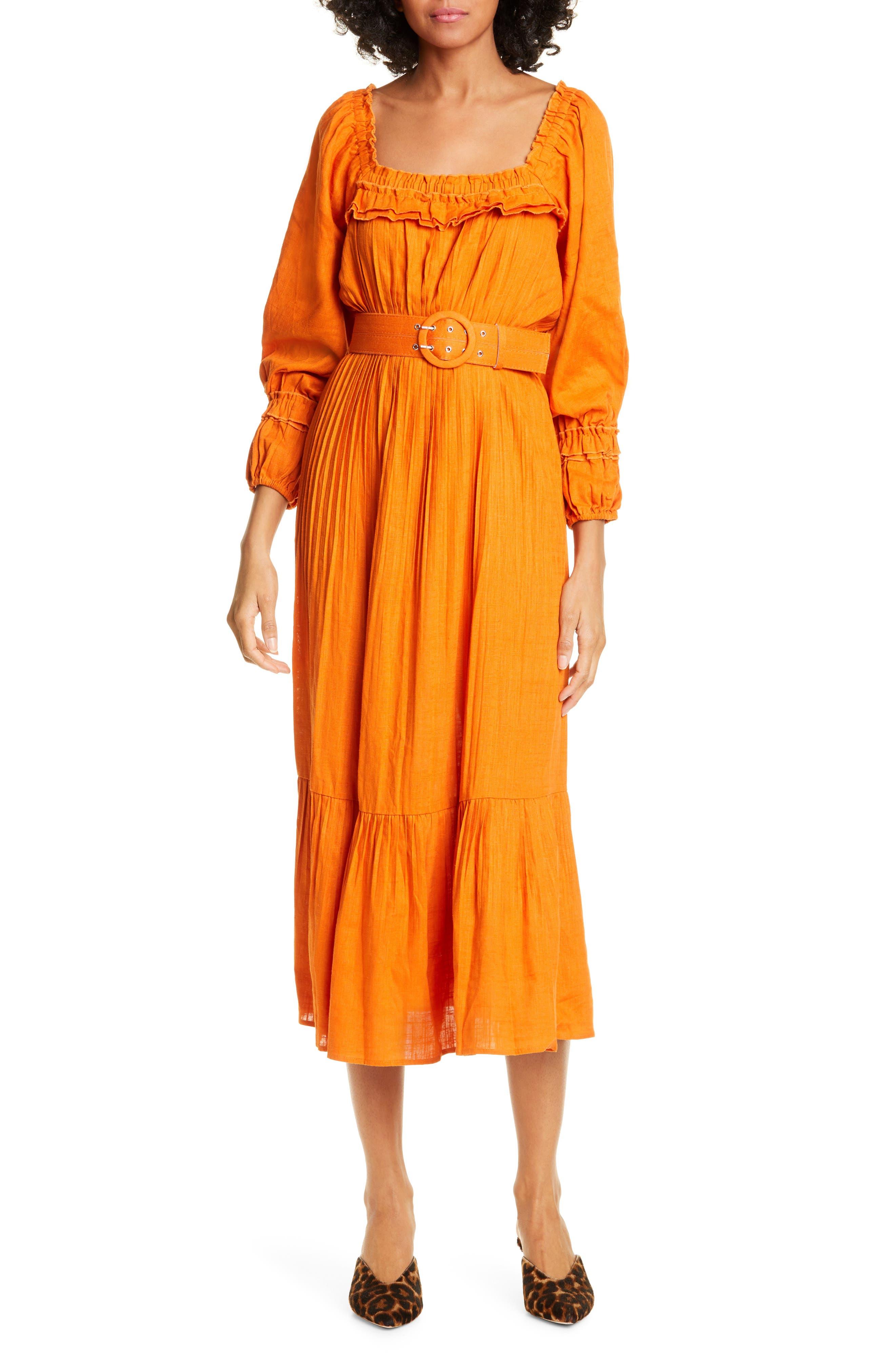 Nicholas Floral Print Pleated Midi Prairie Dress, Orange