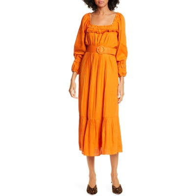Nicholas Floral Print Pleated Midi Prairie Dress, Orange