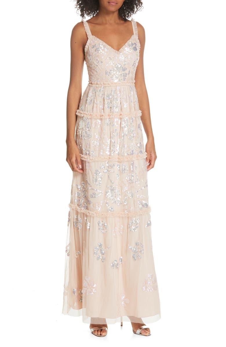 NEEDLE & THREAD Floral Gloss Sleeveless Evening Dress, Main, color, 681