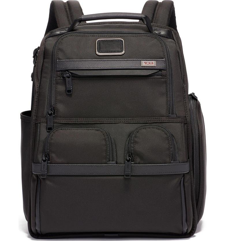 TUMI Alpha 3 Compact Laptop Brief Pack, Main, color, BLACK