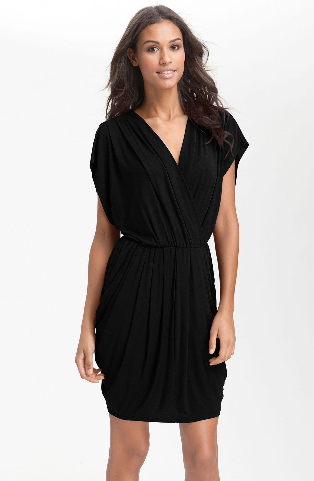 Faux Wrap Pleated Dress, Main, color, 001