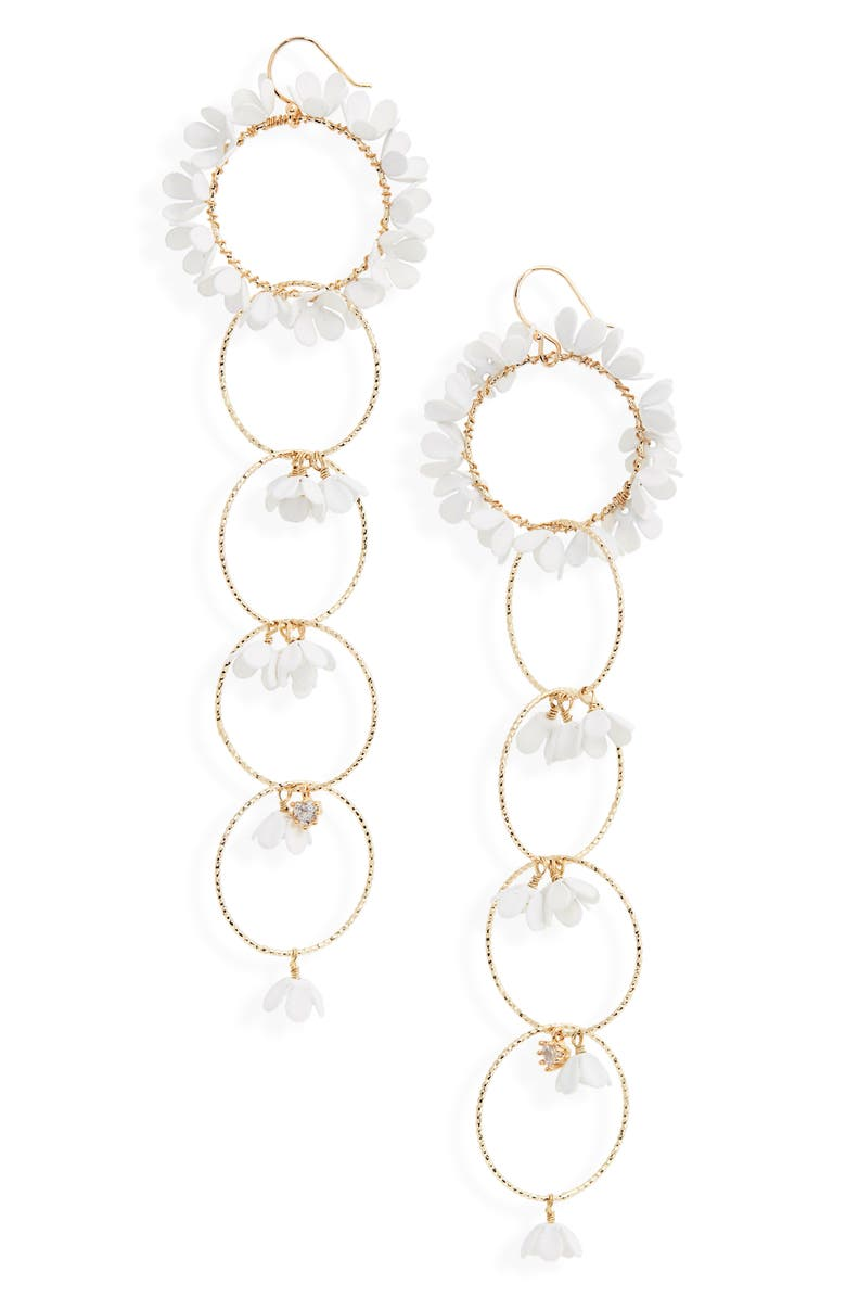SEREFINA Floral Hoop Drop Earrings, Main, color, WHITE/ GOLD