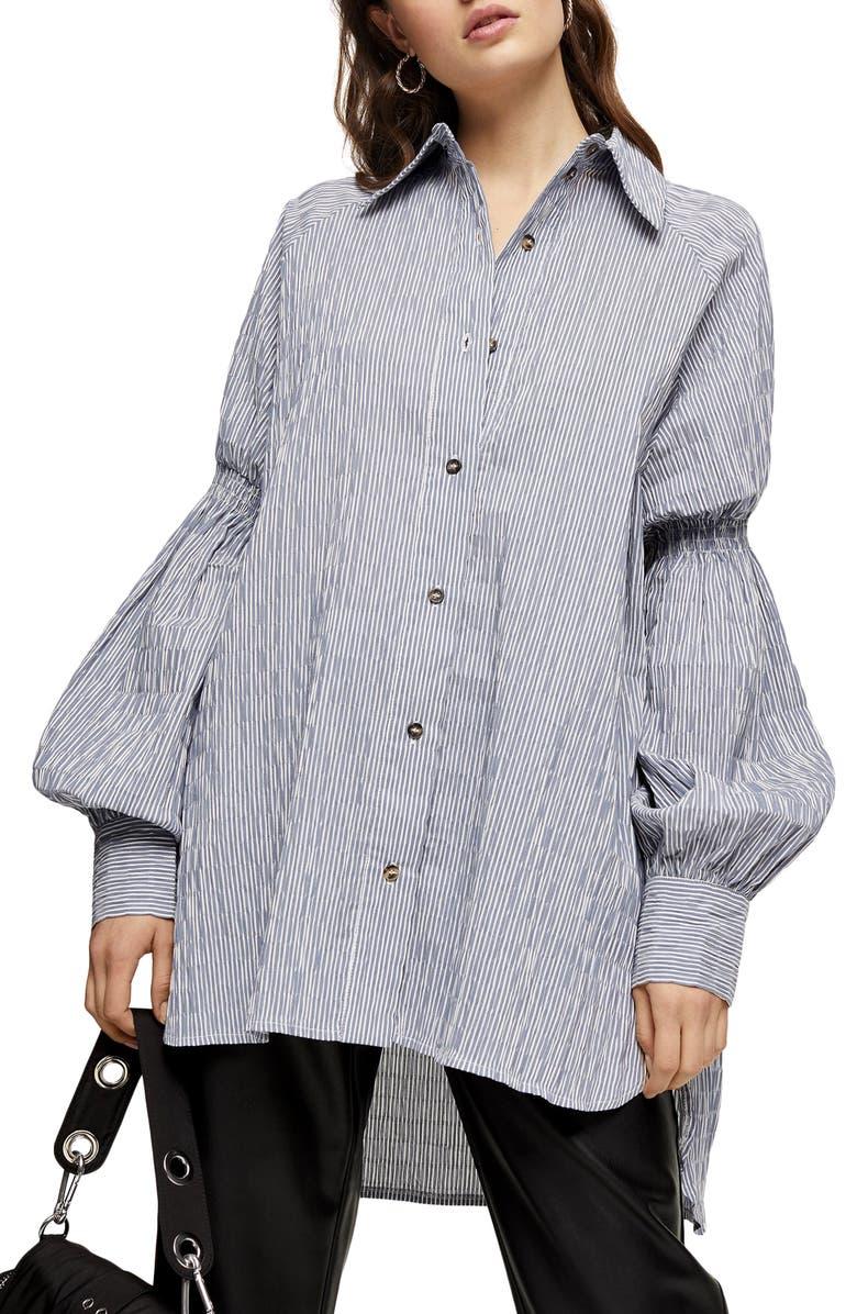 TOPSHOP Oversize Stripe Texture Button-Up Shirt, Main, color, BLUE