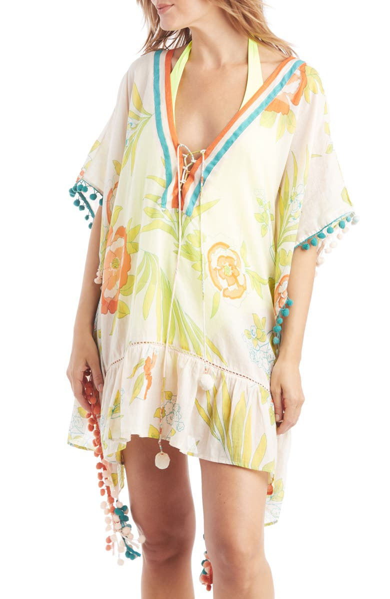 SOLE SOCIETY Lace-Up Caftan, Main, color, CORAL FLORAL COMBO