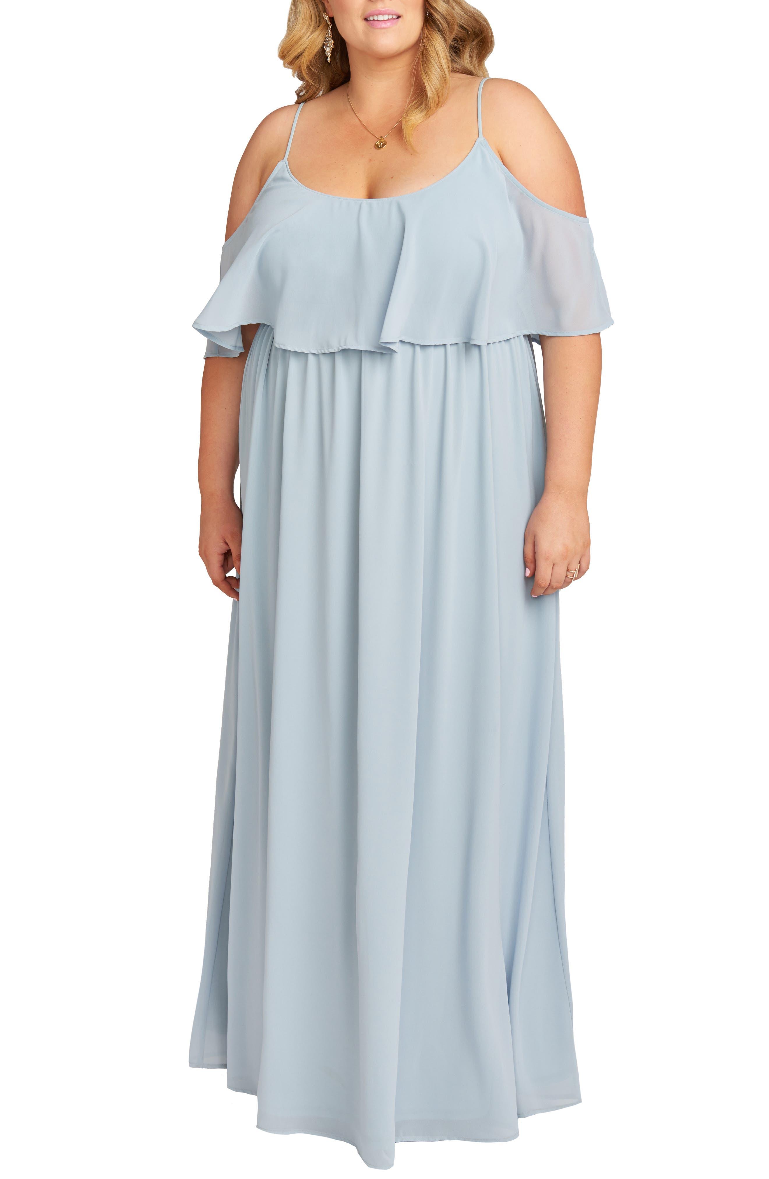 70s Dresses – Disco Dress, Hippie Dress, Wrap Dress Plus Size Womens Show Me Your Mumu Caitlin Ruffle Cold Shoulder Evening Dress Size 3X - Blue $178.00 AT vintagedancer.com