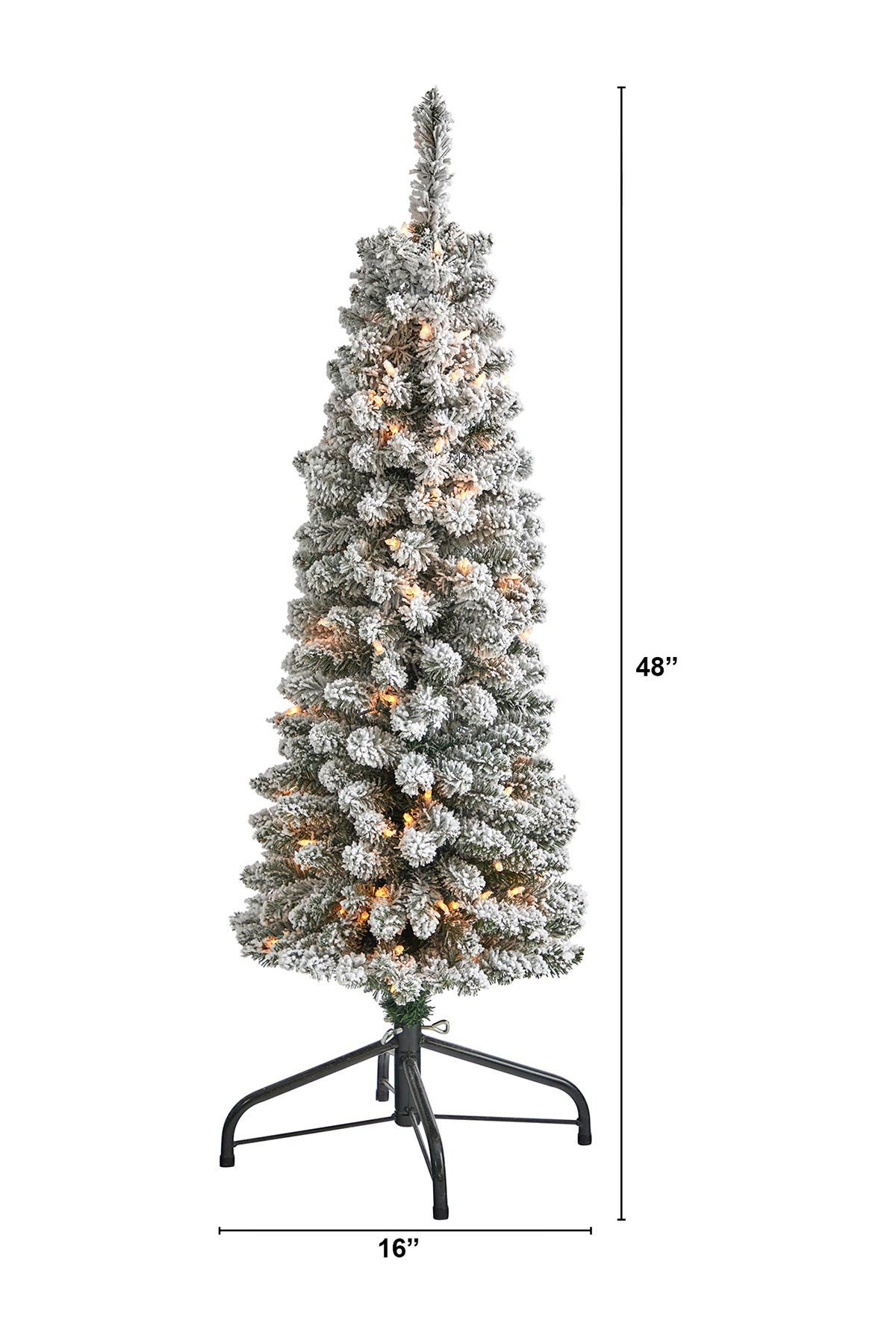 Nearly Natural 4ft Flocked Pencil Artificial Christmas Tree With 100 Clear Lights Hautelook