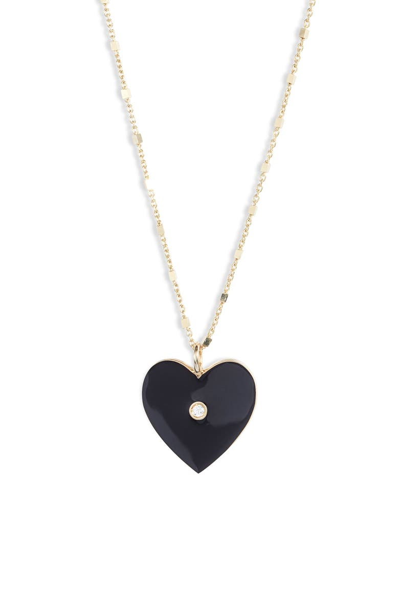 JENNIFER ZEUNER Fifi Heart Pendant Necklace, Main, color, GOLD VERMEIL- BLACK