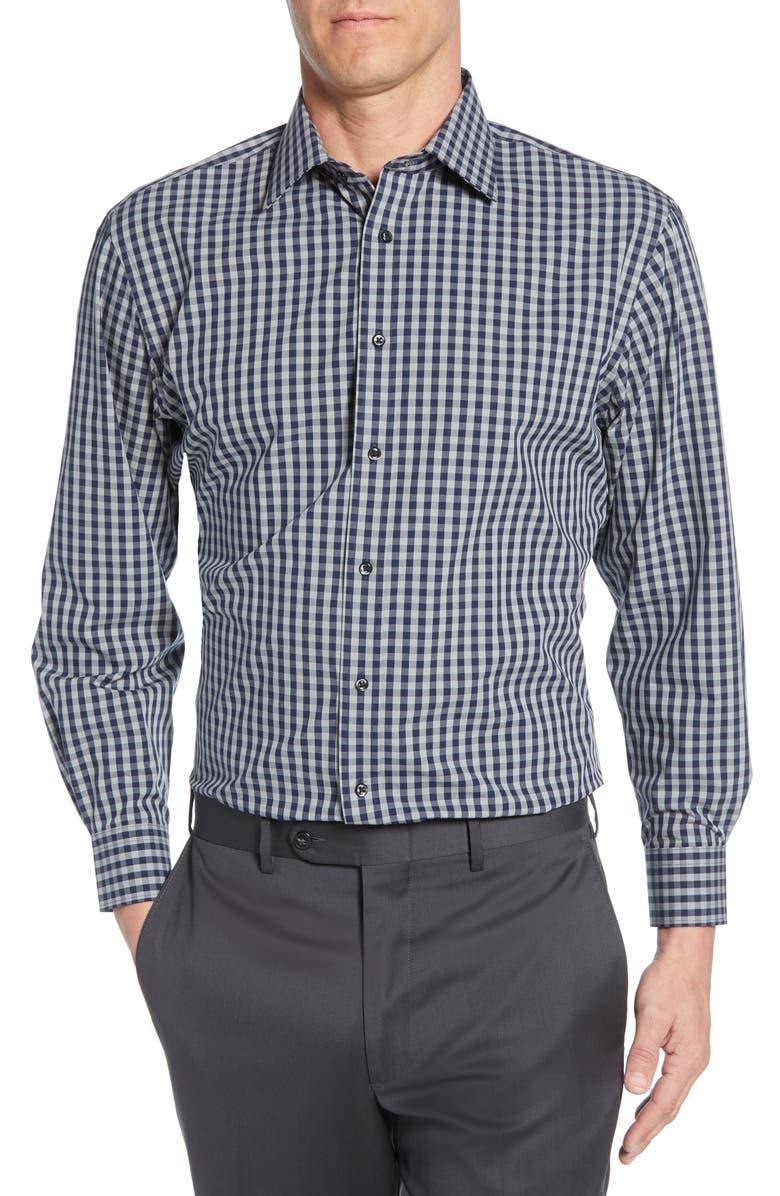 NORDSTROM MEN'S SHOP Tech-Smart Traditional Fit Stretch Check Dress Shirt, Main, color, NAVY MEDIEVAL