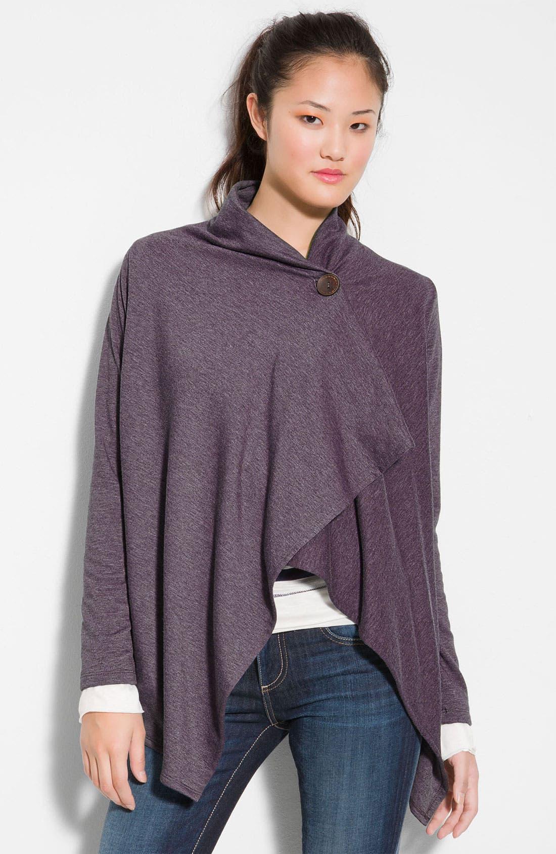 ,                             One-Button Fleece Wrap Cardigan,                             Main thumbnail 142, color,                             450