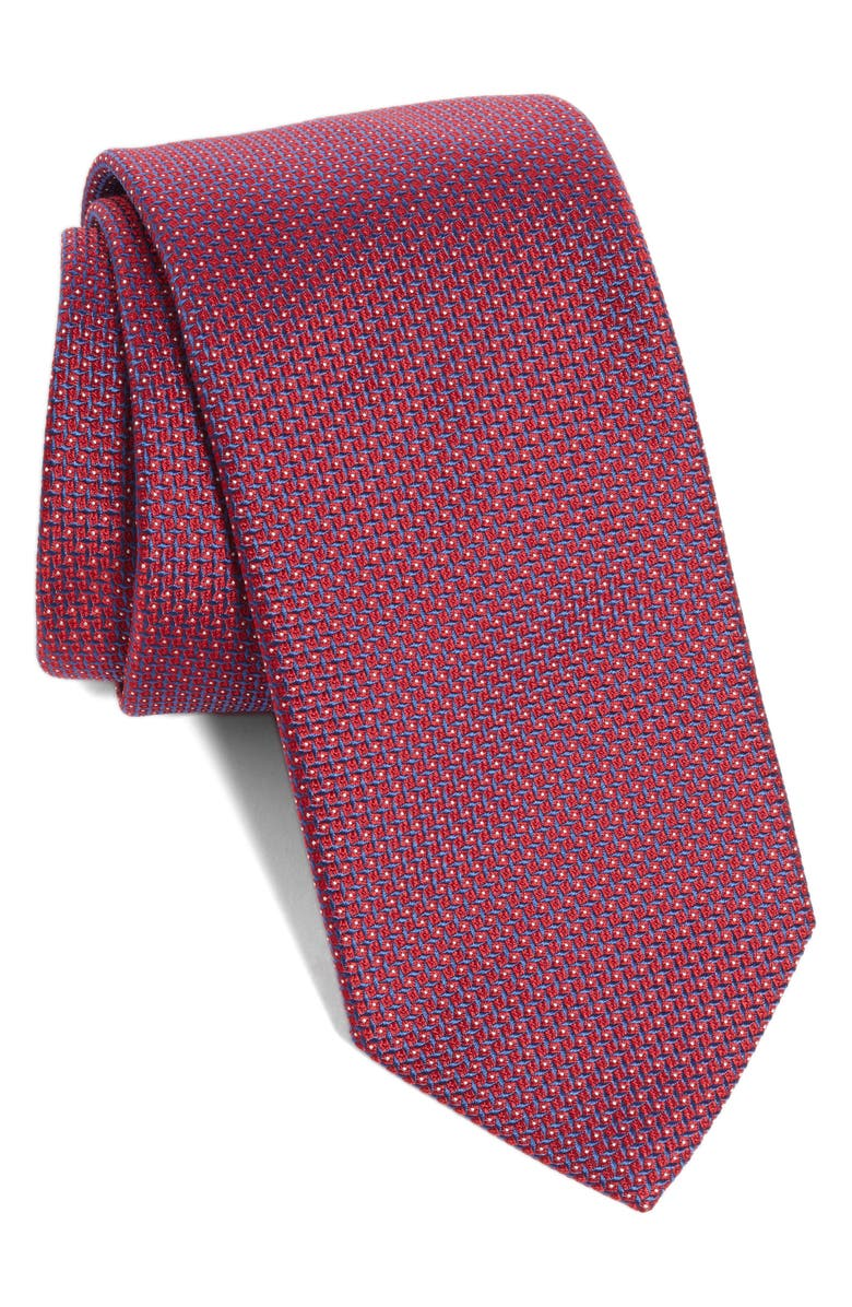 ETON Micro Geometric Silk Tie, Main, color, RED