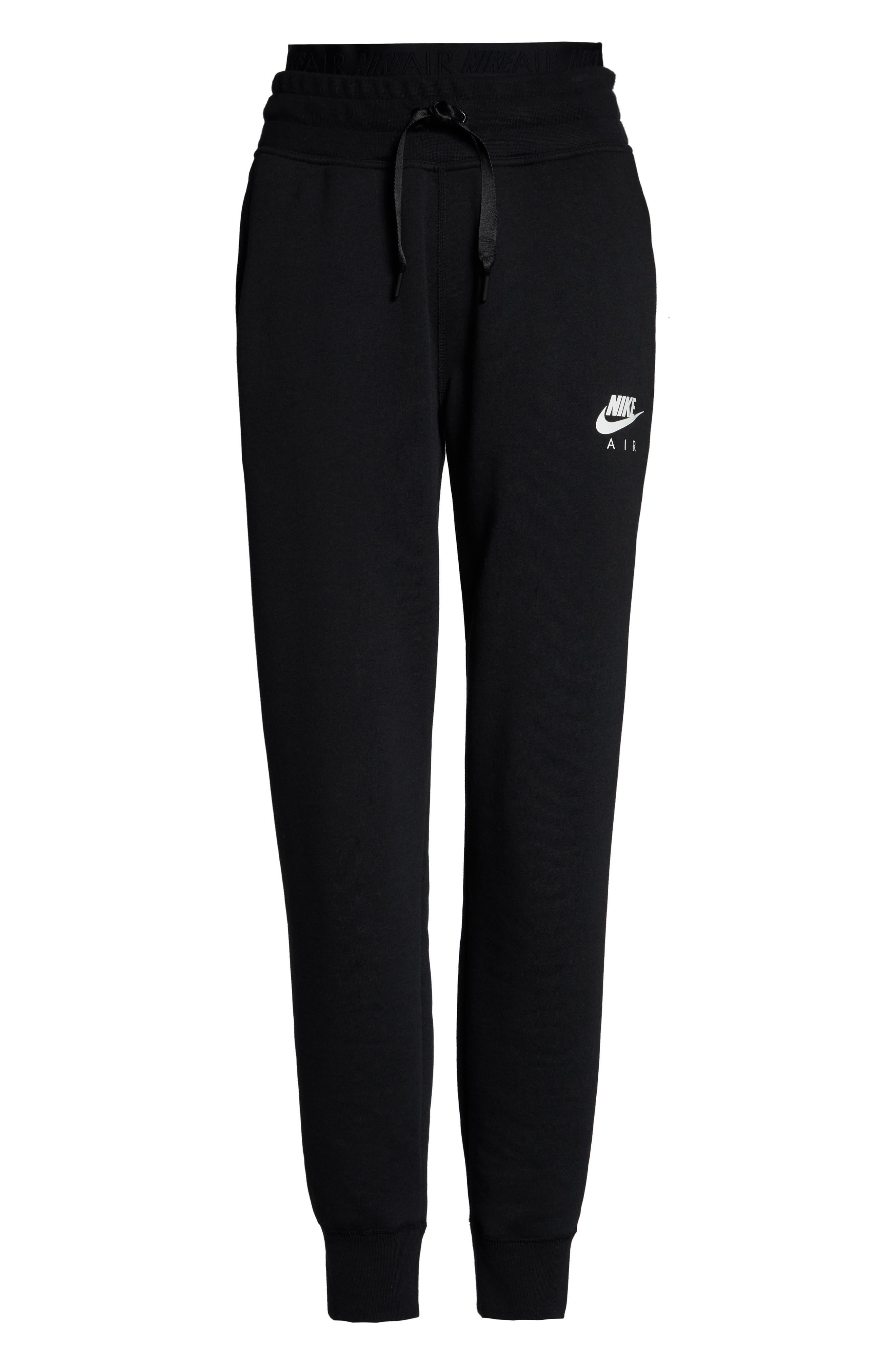 ,                             Sportswear Air Fleece Jogger Pants,                             Alternate thumbnail 9, color,                             BLACK/ WHITE