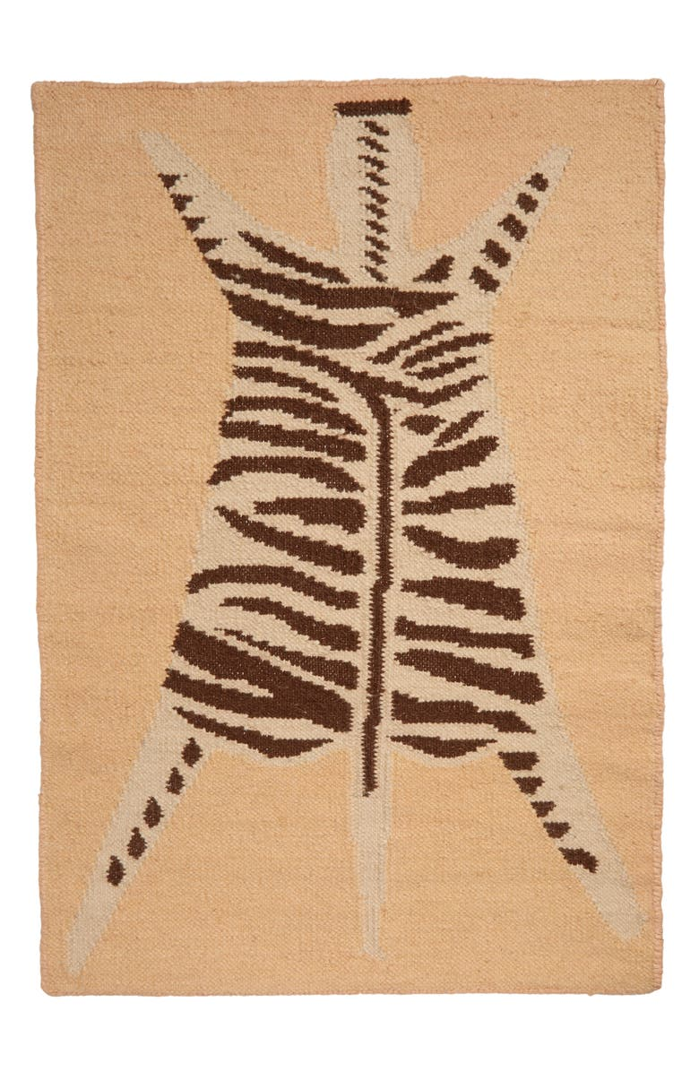 COLD PICNIC Zebra Flat Weave Wool Rug, Main, color, 250