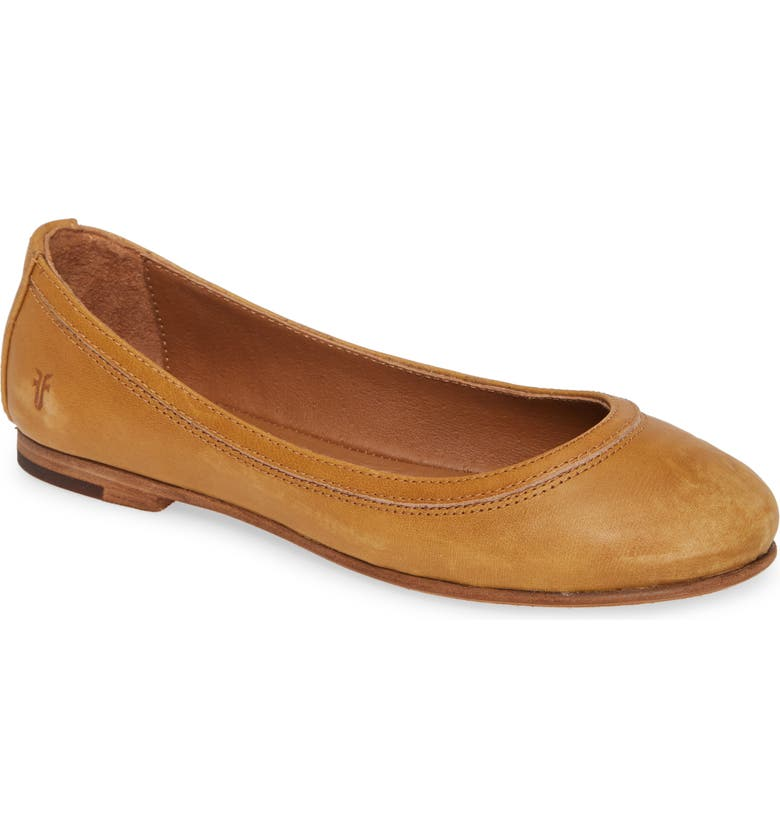 FRYE 'Carson' Ballet Flat, Main, color, MARIGOLD LEATHER