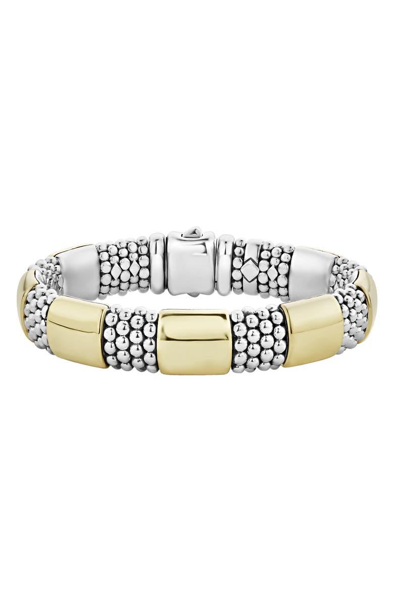 LAGOS Caviar High Bar Rope Bracelet, Main, color, SILVER/ GOLD