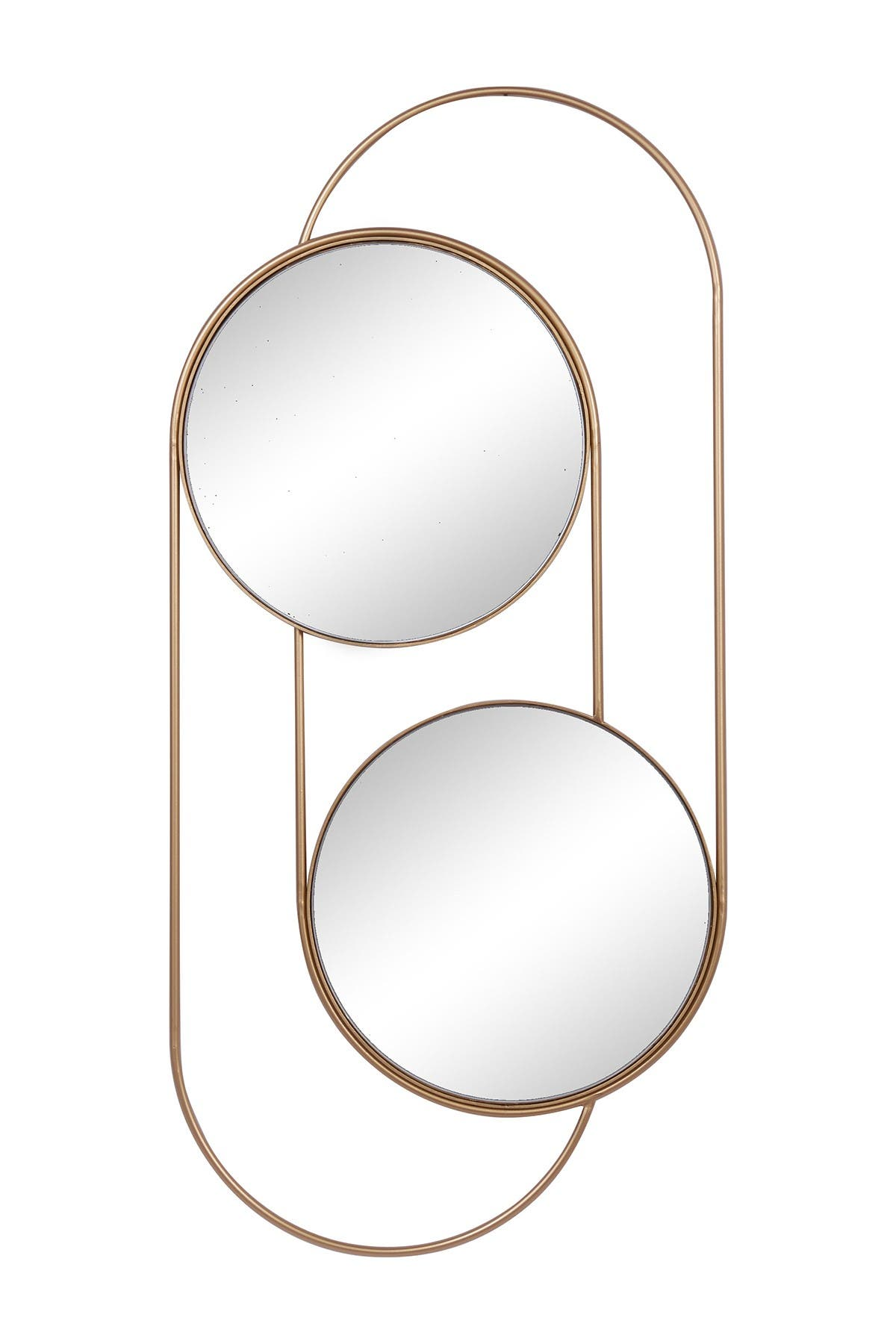 "Image of Willow Row Tall Double Rounded Gold Metal Wall Mirror - 20"" x 43"""