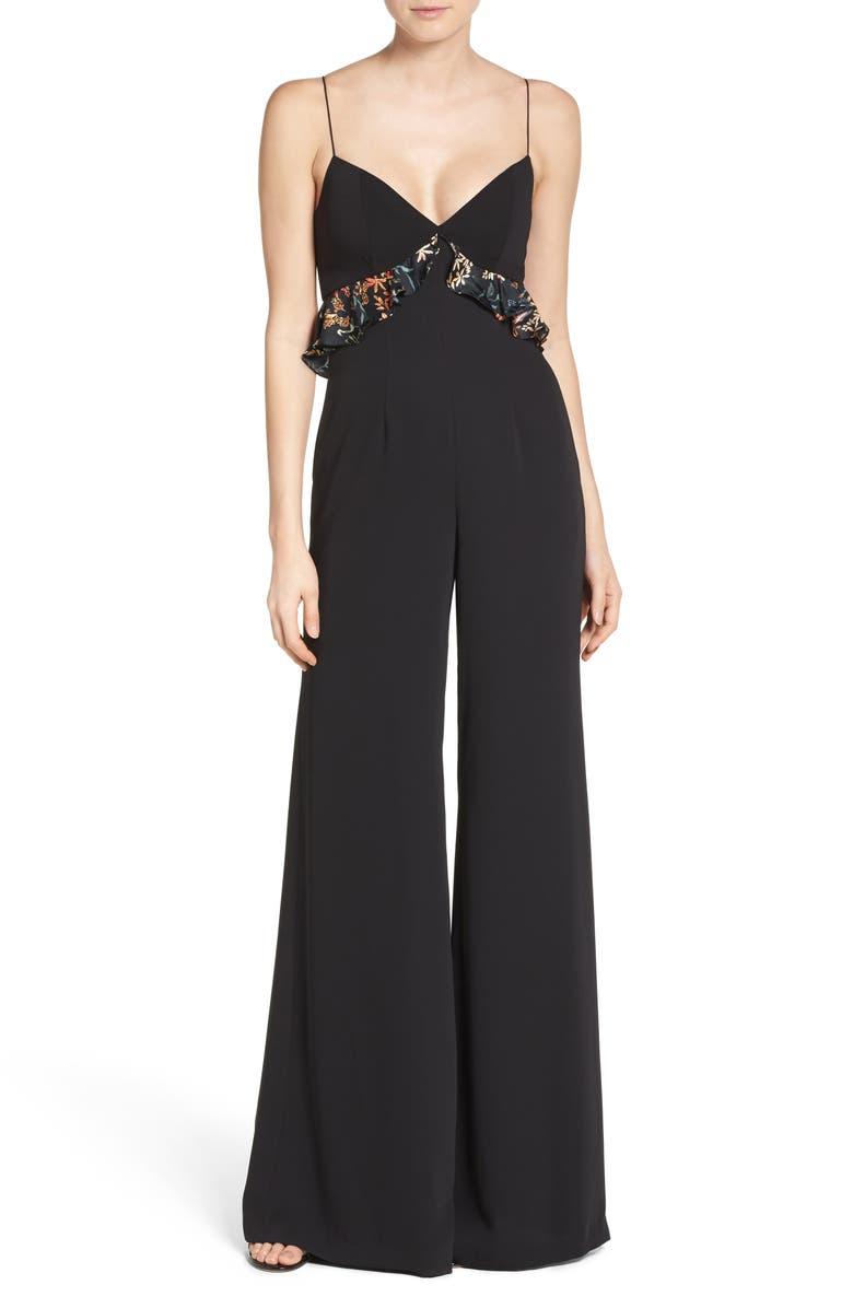SACHIN & BABI Noir Victoria Crepe Jumpsuit, Main, color, 001