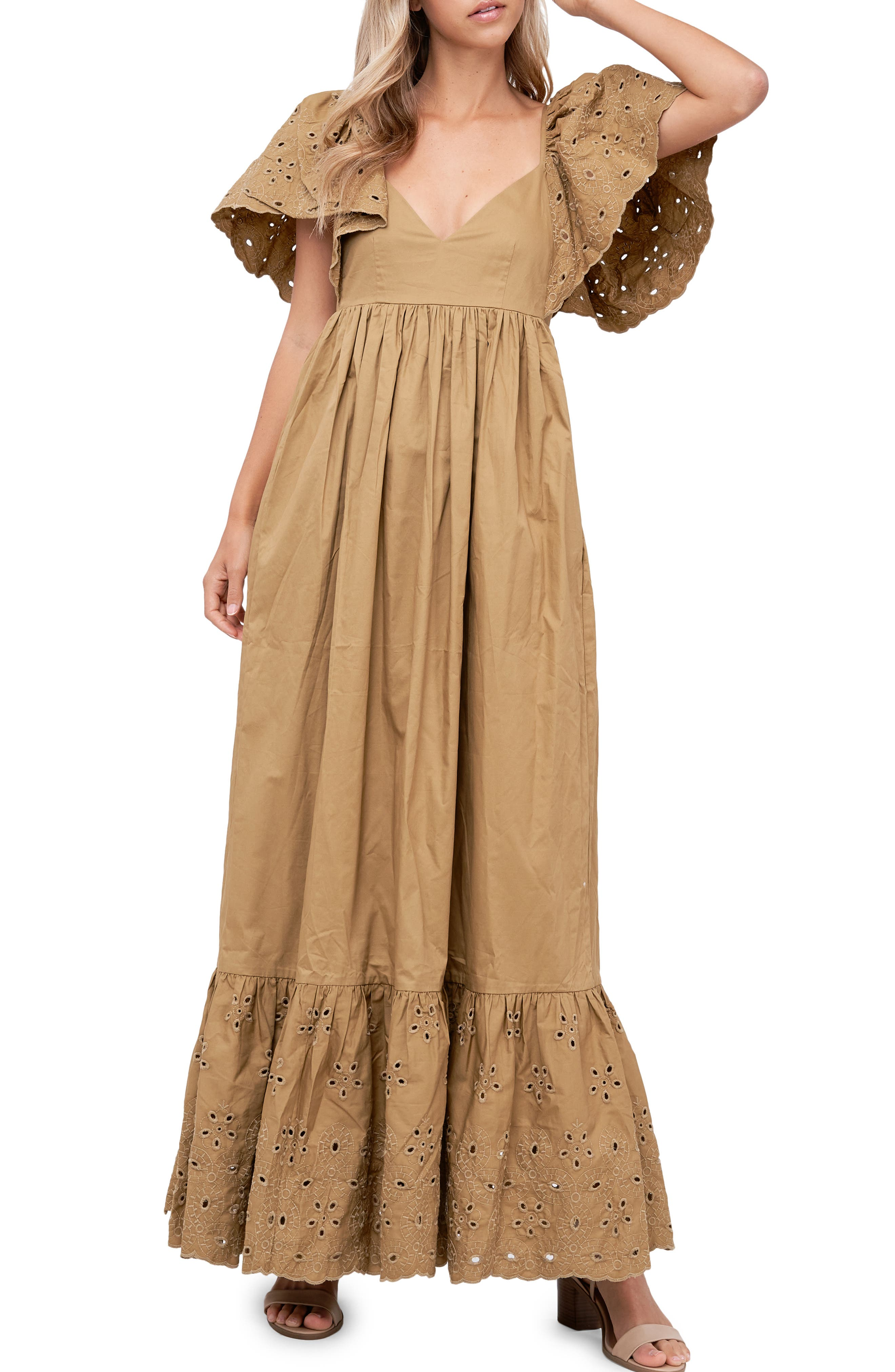 Eyelet Detail Flutter Sleeve Poplin Maxi Dress