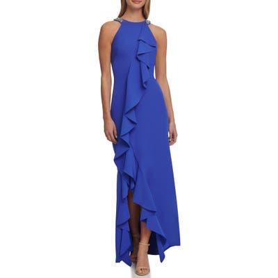 Eliza J Ruffle Front Gown, Blue