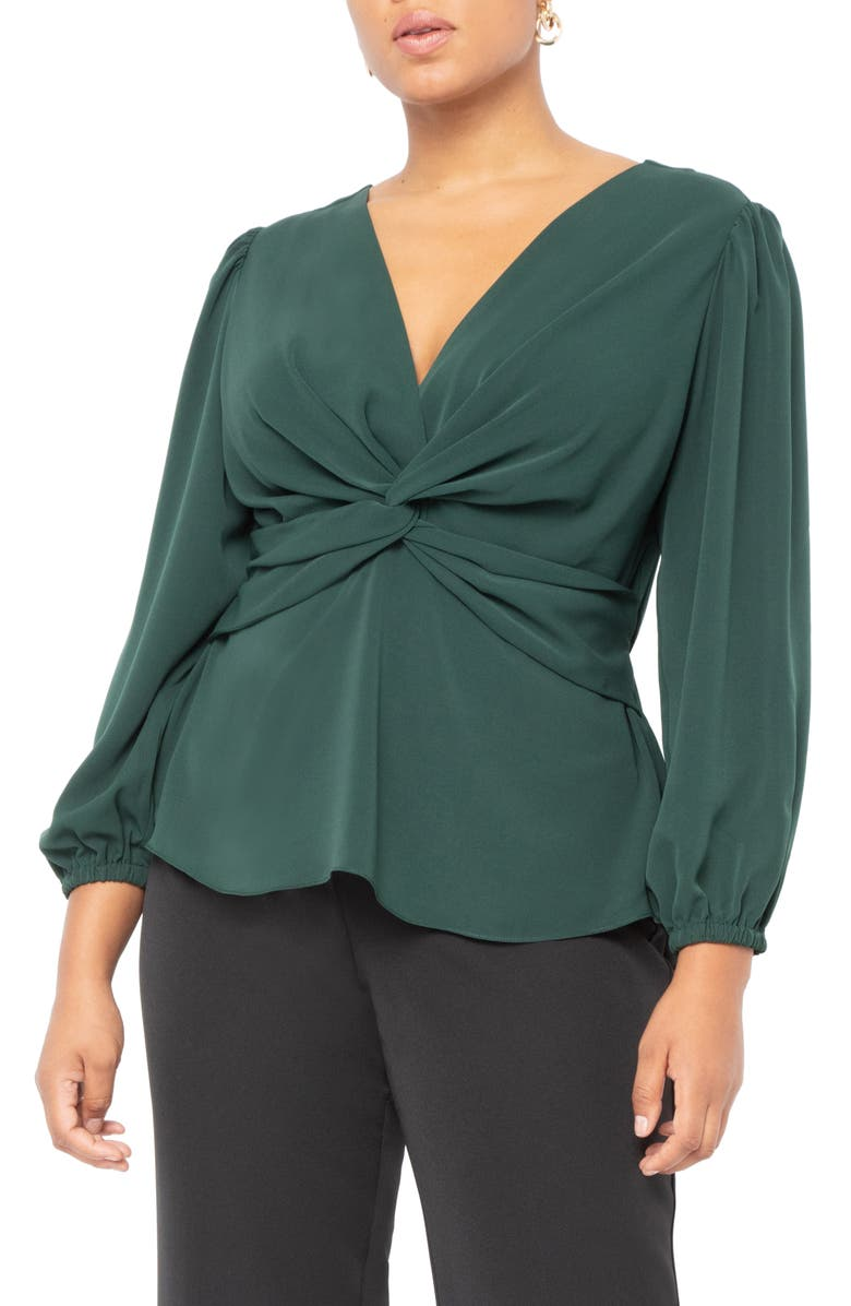 ELOQUII Twist Front Peplum Stretch Crepe Blouse, Main, color, BLACK FOREST