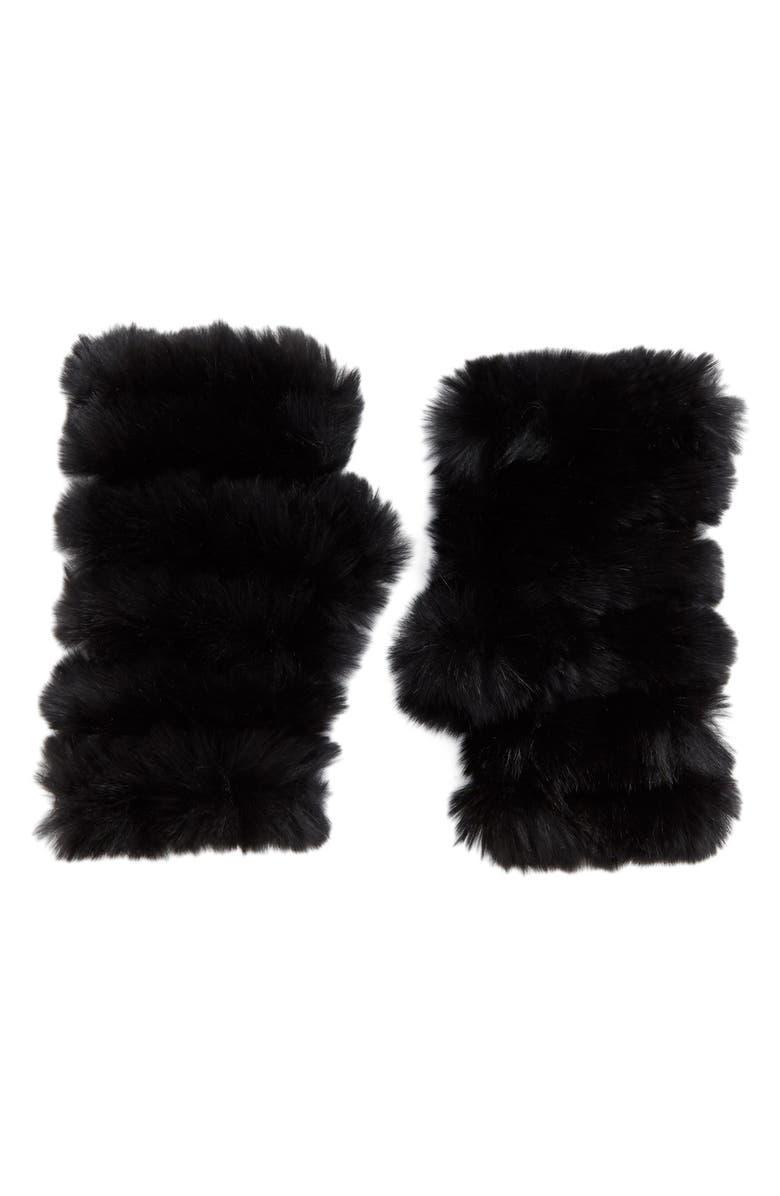 JOCELYN Genuine Rabbit Fur Fingerless Mittens, Main, color, 001