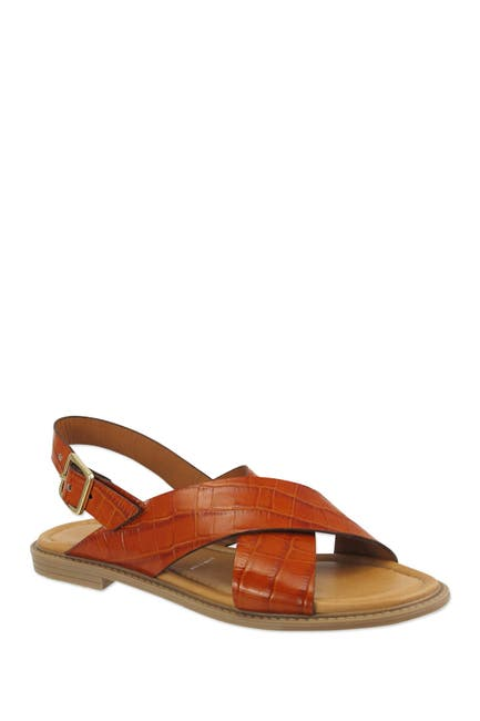 Image of RON WHITE Sanita Croc Embossed Leather Sandal