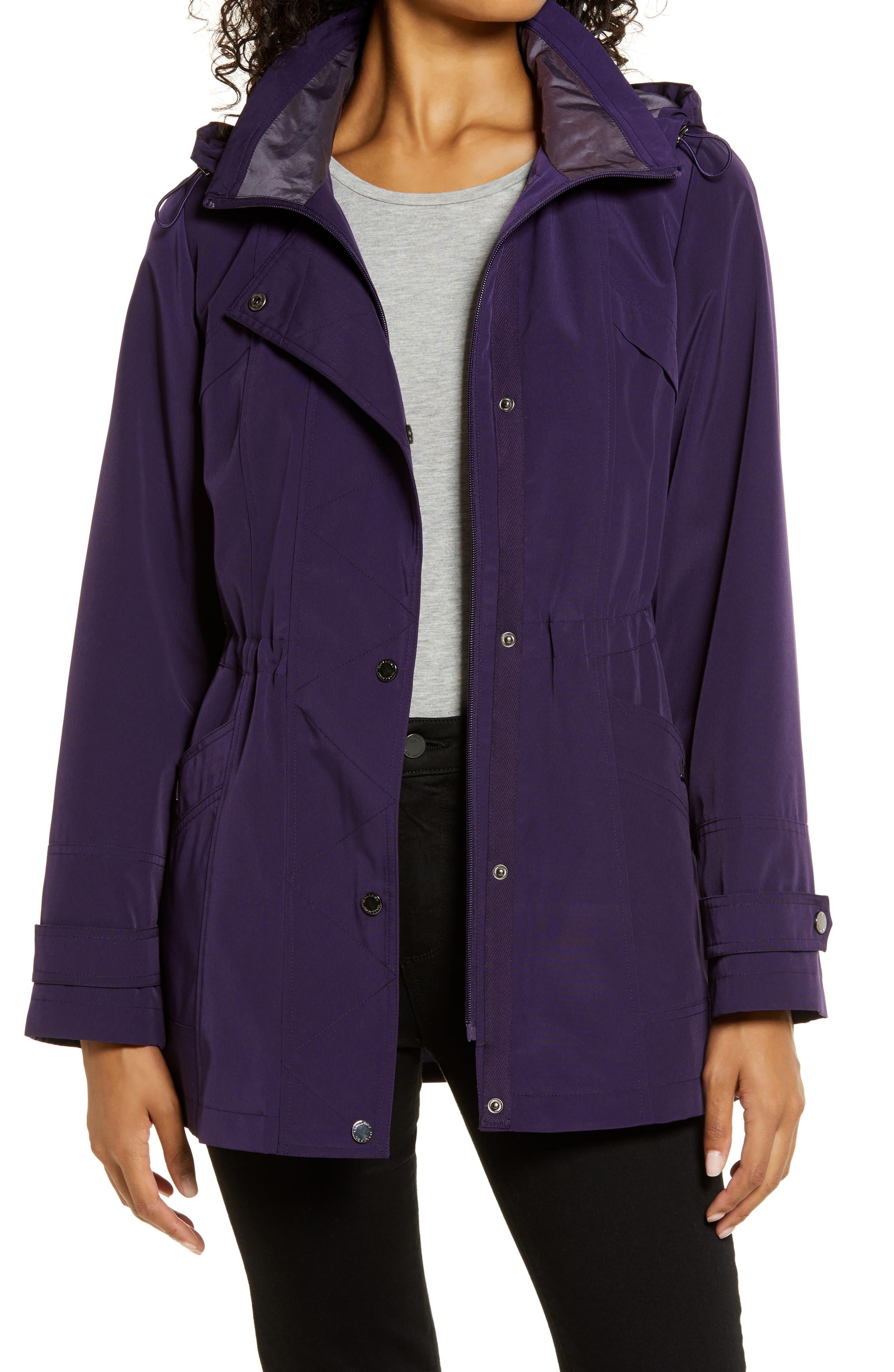 Cinched Waist Hooded Raincoat