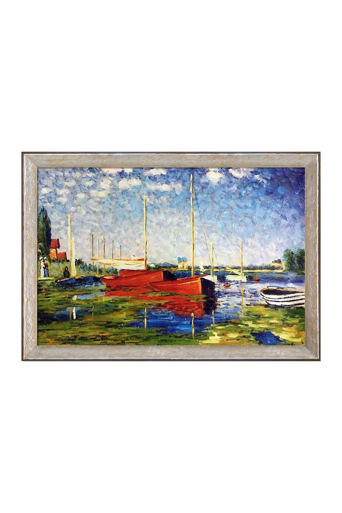 Image of Overstock Art Red Boats at Argenteuil by Claude Monet Framed Hand Painted Oil Reproduction on Canvas
