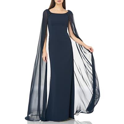Carmen Marc Valvo Infusion Beaded Inset Caped Chiffon Gown, Blue