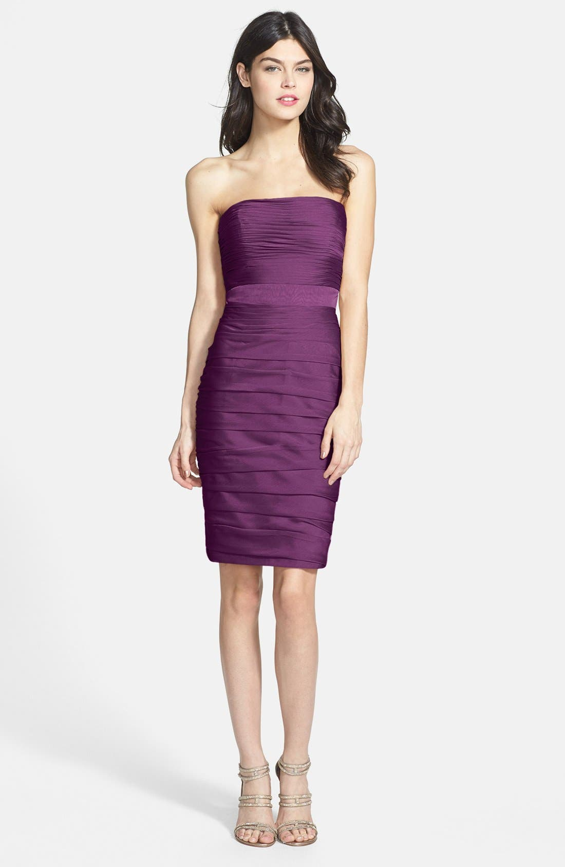 ,                             Ruched Strapless Cationic Chiffon Dress,                             Alternate thumbnail 52, color,                             500