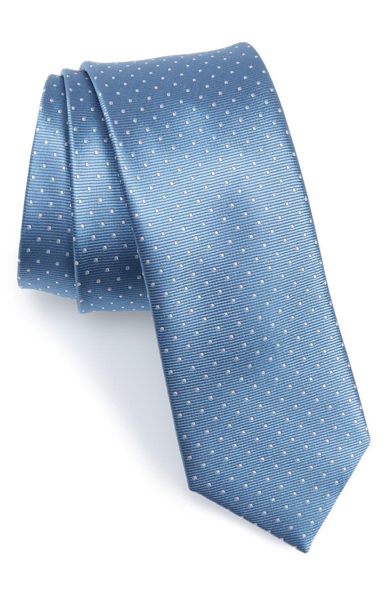 THE TIE BAR Dot Silk Tie, Main, color, SLATE