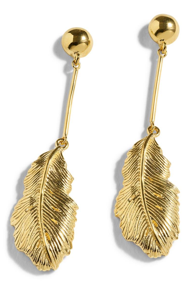 J.CREW Demi Leaf Drop Earrings, Main, color, GOLD