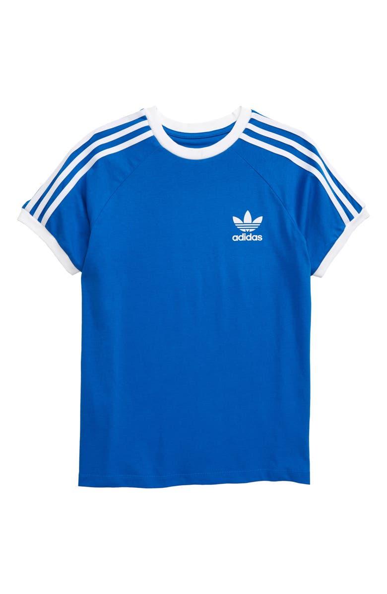 ADIDAS ORIGINALS 3-Stripes T-Shirt, Main, color, BLUEBIRD/ WHITE