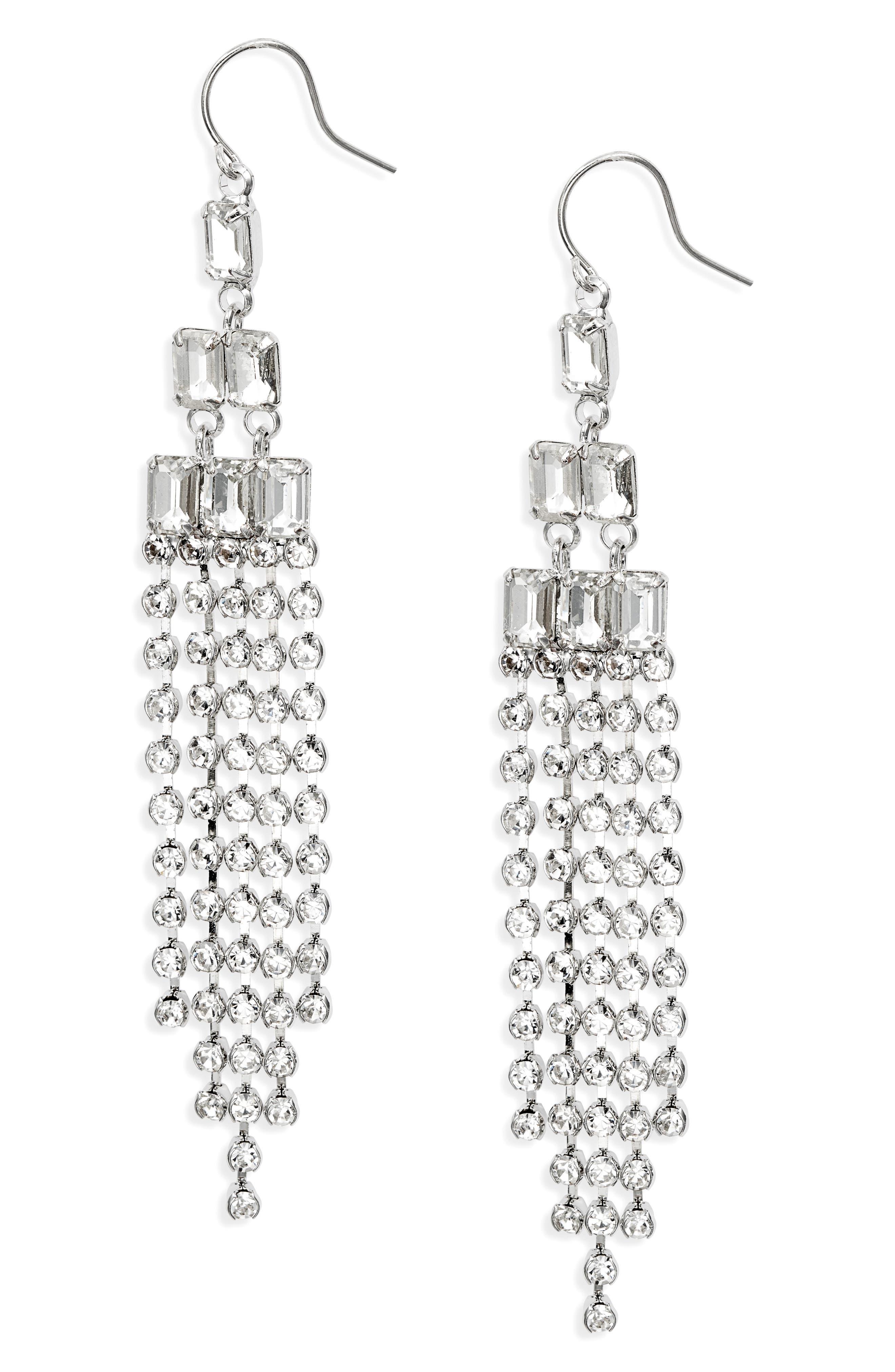 Crystal Drama Fringe Drop Earrings